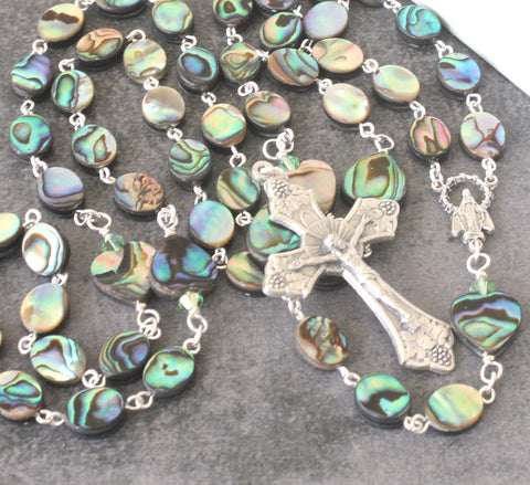 Paua Shell Rosary Beads, New Zealand Abalone Shell