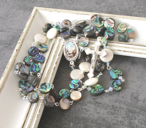 Paua Shell & Freshwater Pearls Our Lady of Fatima Rosary
