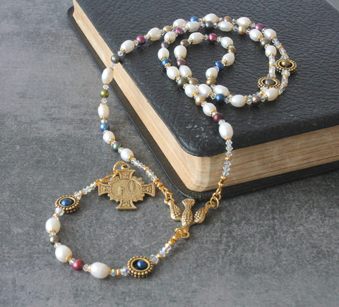 Our Lady of Lourdes womans rosary, handmade in NZ, pearls and crystals