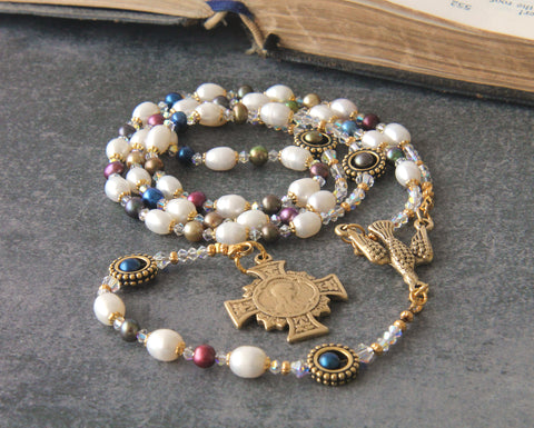 White pearl and crystal rosary, Romantic Era style, handmade
