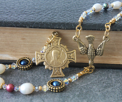 renaissance rosary, natural pearls, brass vintage cross