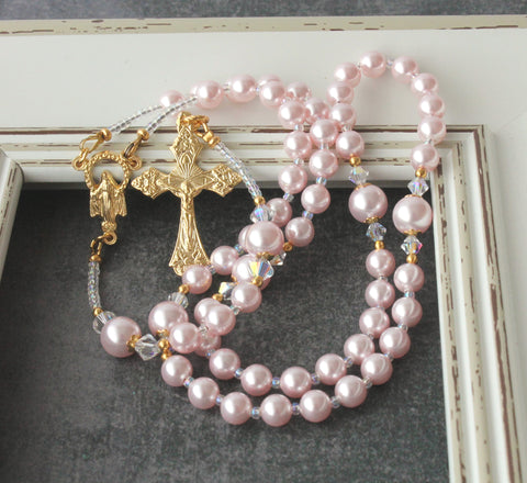 New Zealand Catholic rosary, pink gold baby rosary gift