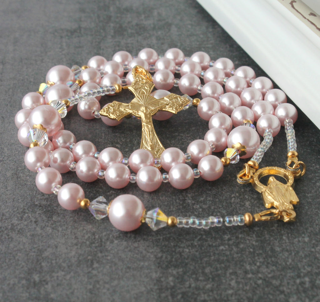 Pink rosary, Swarovski pearls and gold, handmade