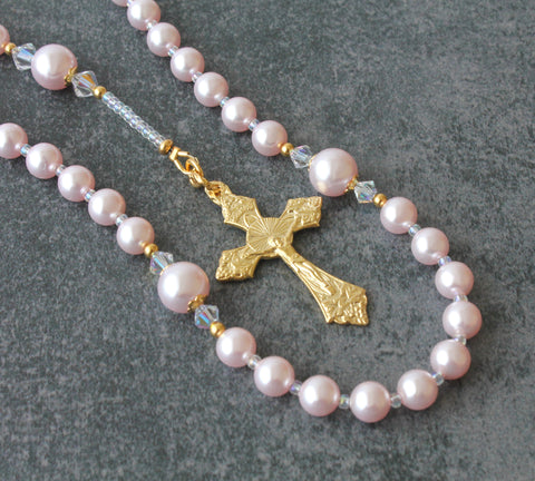 Baptism rosary for girl, pink pearls, godparent gift