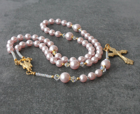 Pink Baptism Rosary, Swarovski Pearls & Crystals - Ideal Gift from a Godparent