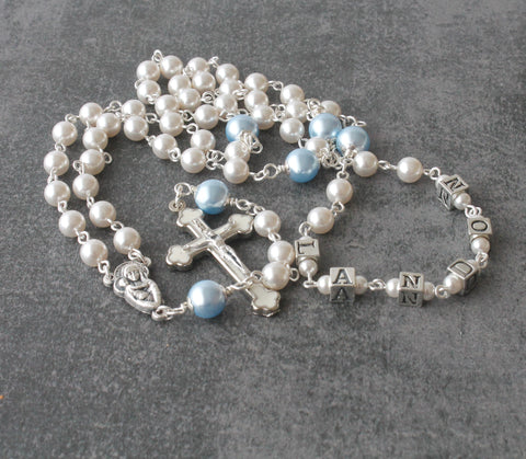 Personalized Rosary, Swarovski Pearls - Pearl Color & Name of Your Choice