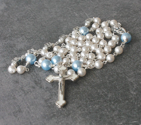 Baptism Rosary, Personalised Name & Color of Swarovski® Pearls