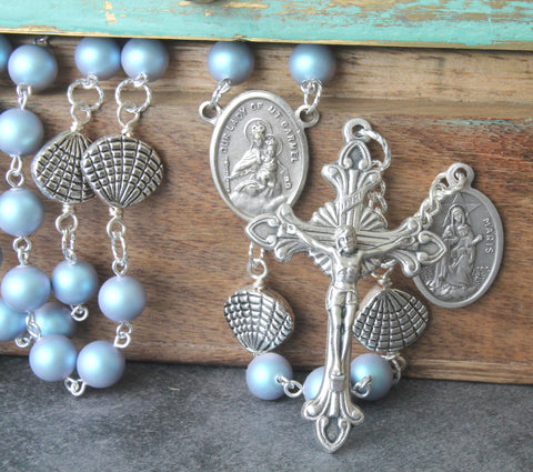 Our Lady Star of the Sea handmade rosary, pale blue pearls, Stella Maris