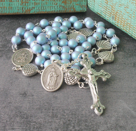 Stella Maris rosary blue Swarovski pearls, Star of the Sea