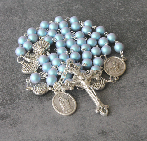 Stella Maris Rosary, Our Lady Star of the Sea, Blue Swarovski Pearls