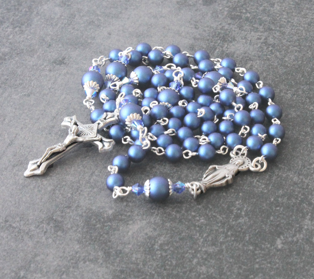 Briggitine rosary blue pearls handmade New Zealand