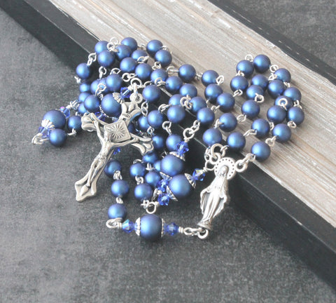 6 decade handmade Catholic rosary blue pearls