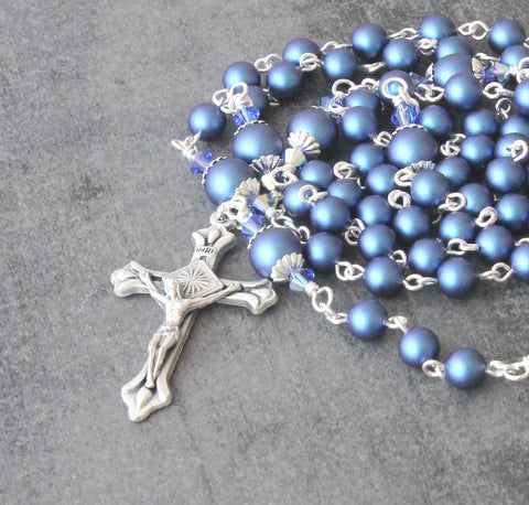 Brigittine Rosary, 6 Decades, Silver with Blue Swarovski Pearls