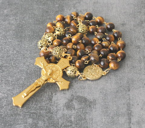 Large St Benedict Tigers Eye Rosary for Prayer, Presentation, Wall