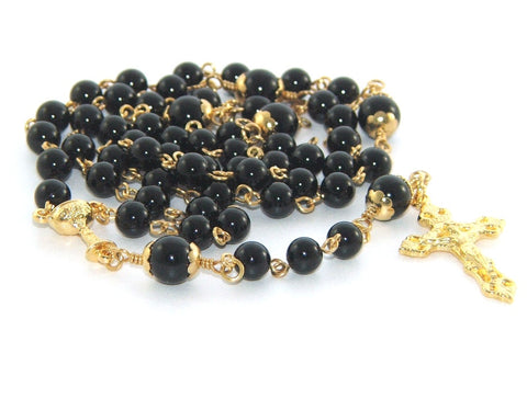 First Holy Communion, Boy's Black & Gold Rosary