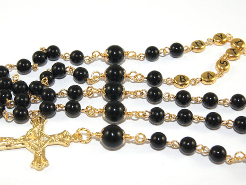 Baptism rosary, black onyx, handmade in New Zealand