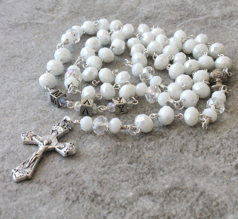 White 1st communion rosary