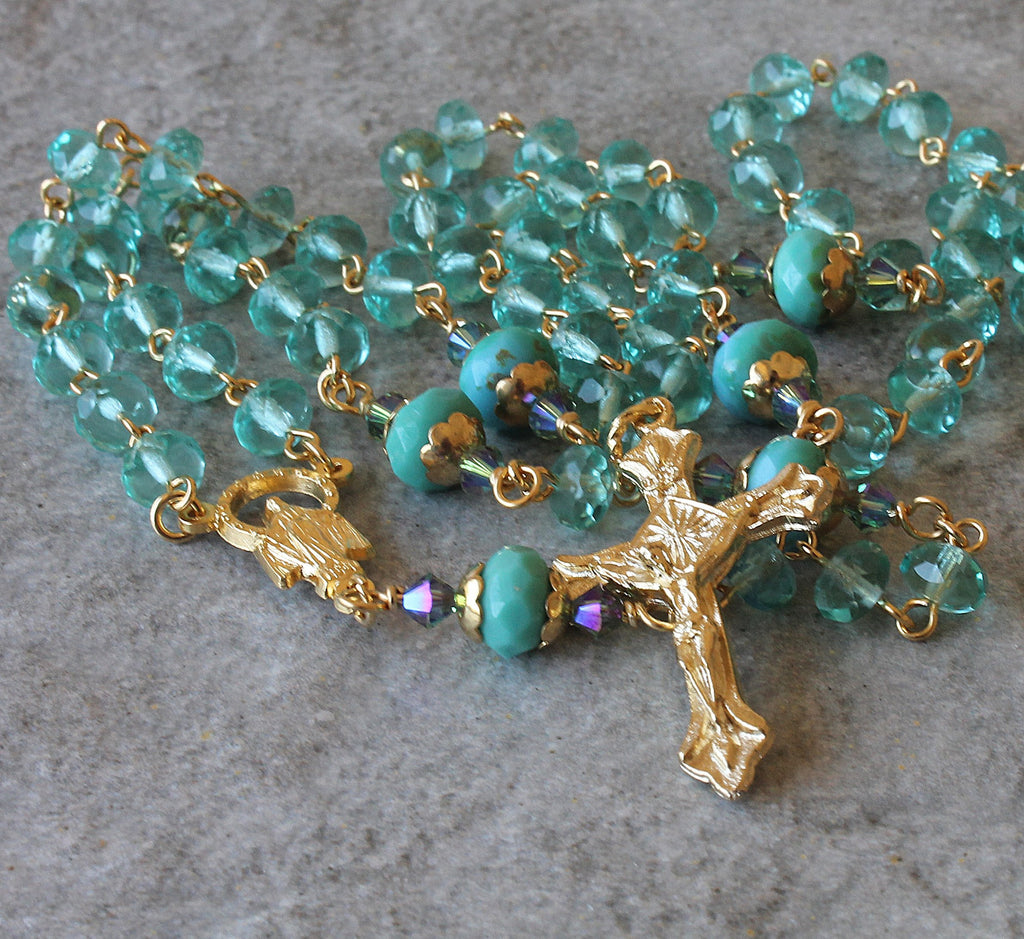Brigittine rosary with 6 decades, blue gold rosary for woman