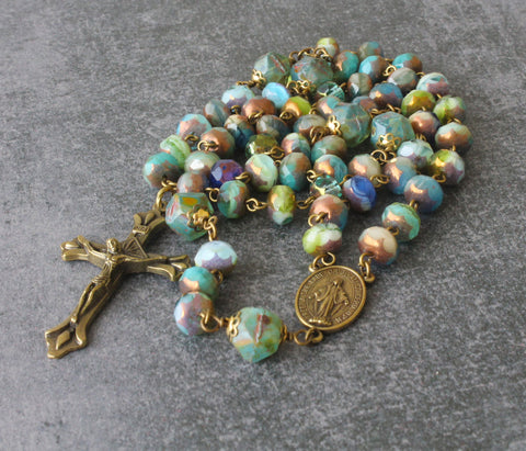 Czech Crystal & Bronze Crucifix, Woman's Catholic Prayer Beads with Rosary Pouch