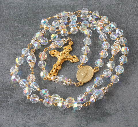 Brigittine or Carmelite 6 Decade Rosary, Swarovski Crystals in Gold, Large Size