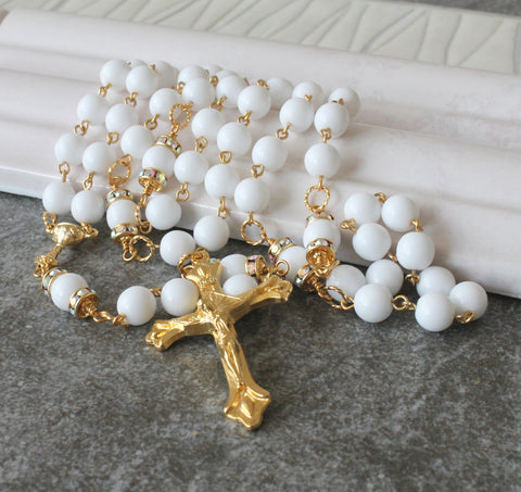 Traditional Catholic First Communion Rosary, White & Gold, Handmade in New Zealand