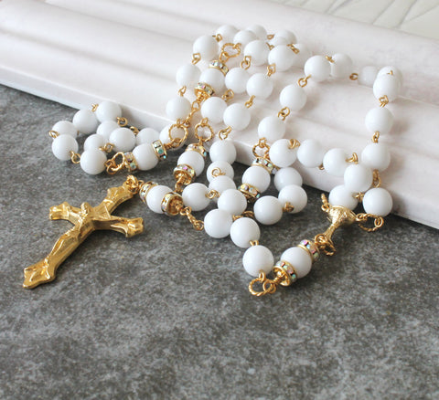 Catholic First Communion Rosary, White & Gold, Handmade in New Zealand