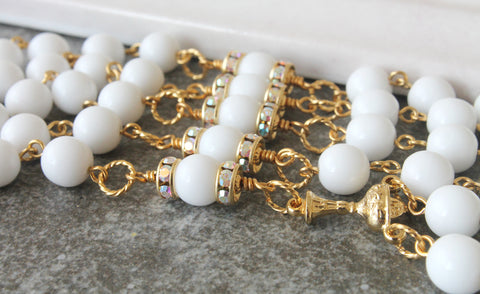 first communion rosary, white and gold, handmade