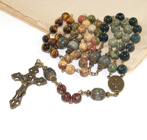 Mixed Gemstone Rosary Beads, Bronze Mirculous Medal Center & Filigree Crucifix