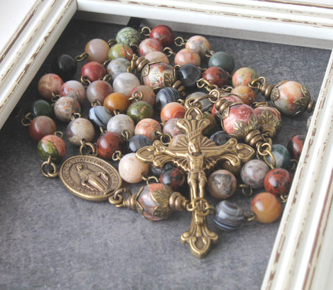 Agate & Jasper Rosary, Full-Szie Linked in Bronze