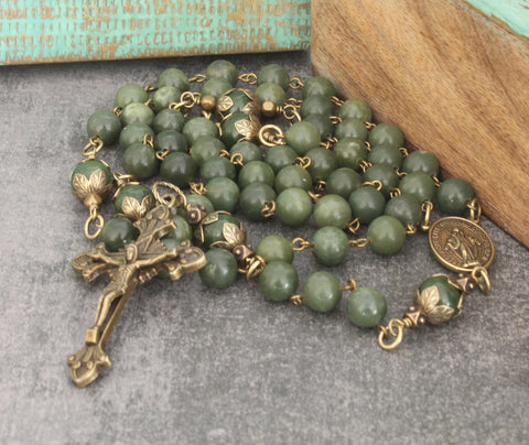 NZ rosary for men, greenstone with brass