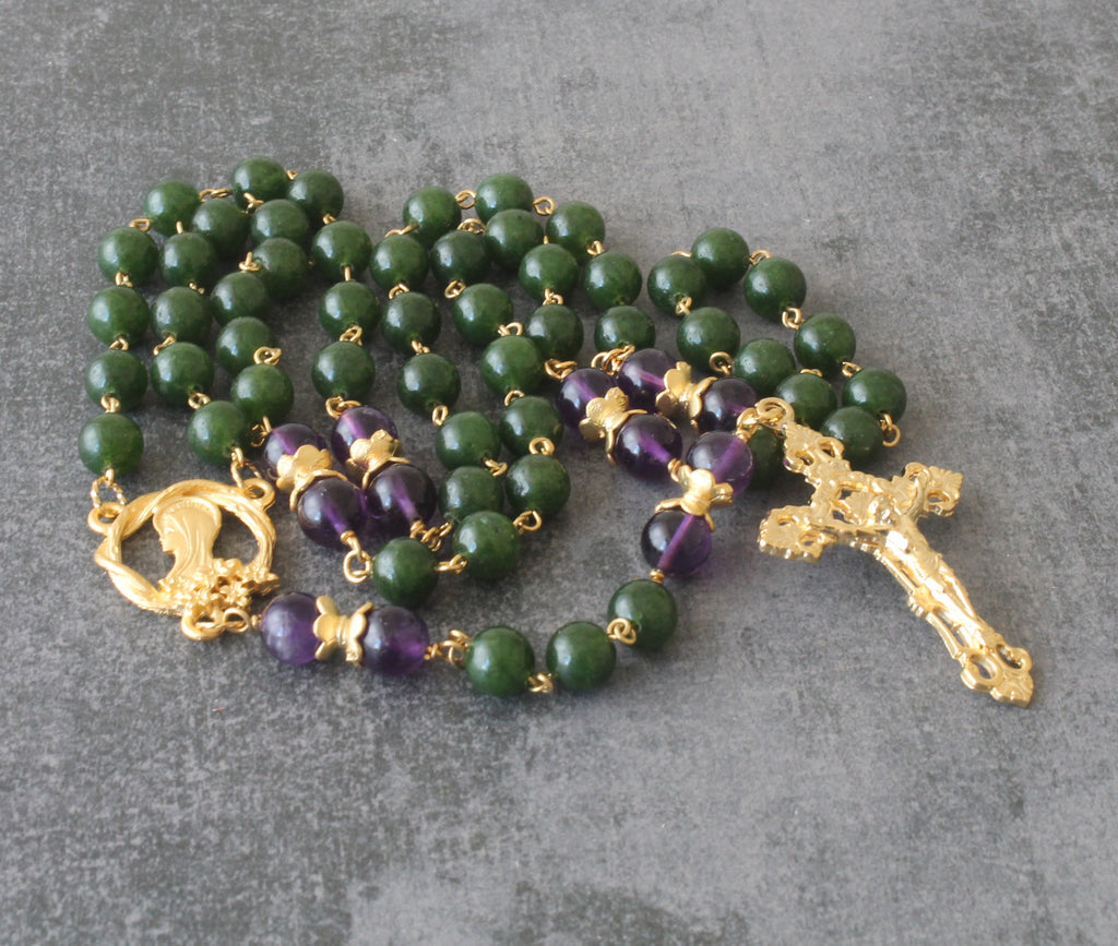 New Zealand gold greenstone rosary with amethyst