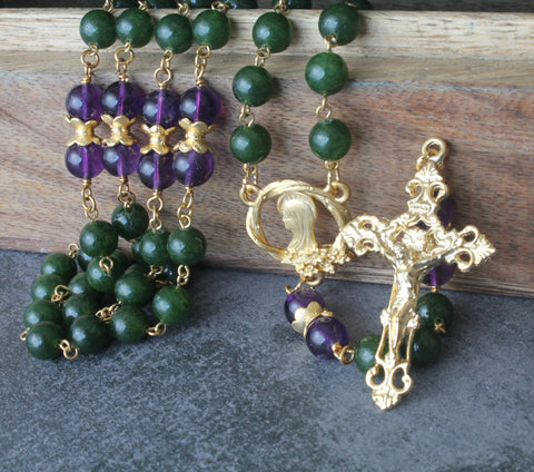 NZ made Catholic rosary green jade purple anethyst, handmade