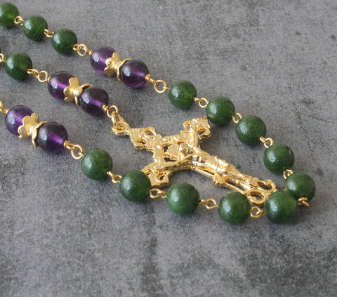 Greenstone & Amethyst Catholic Rosary, Handmade in New Zealand