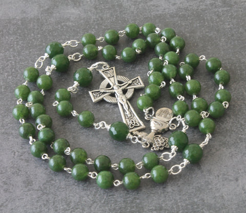 First Communion gift, green jade Celtic rosary