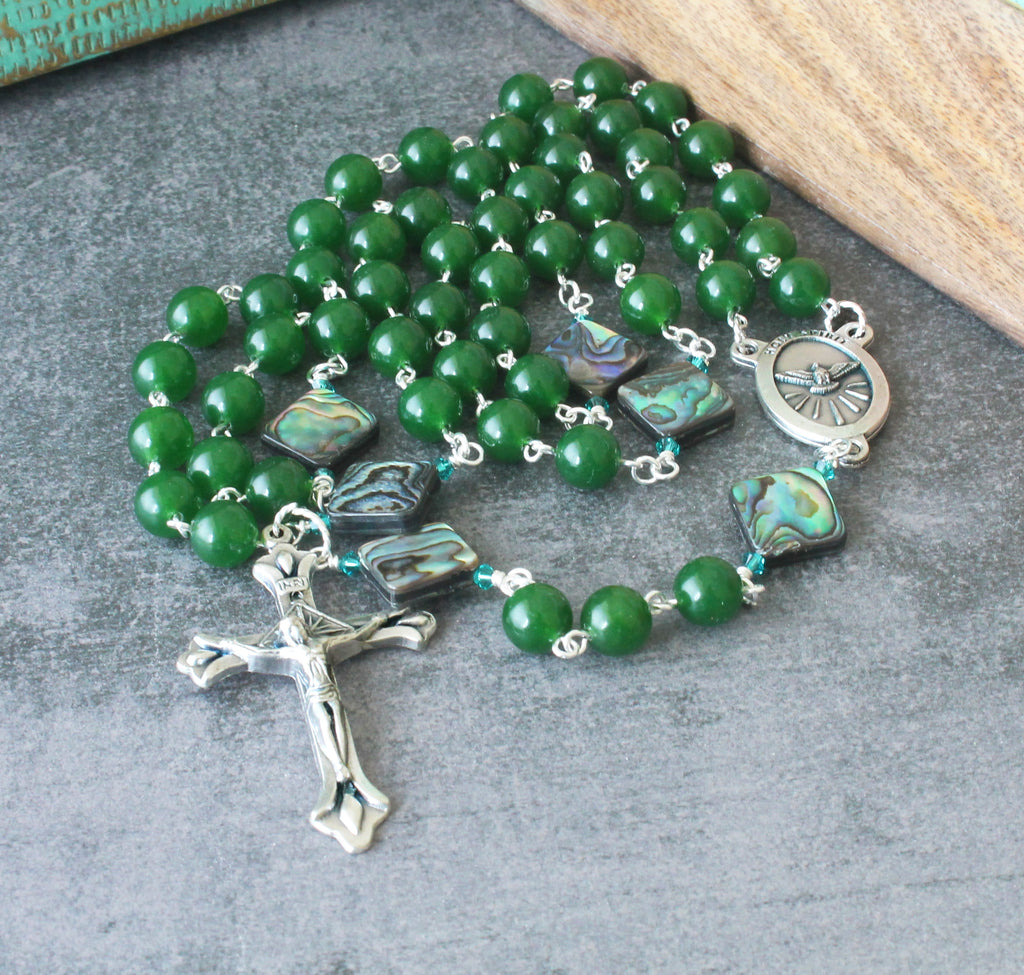 Holy Spirit rosary, green nephrite jade & paua shell beads