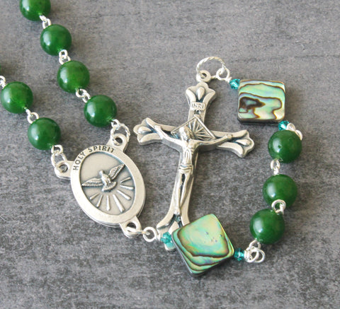 Greenstone & Paua Holy Spirit Rosary, NZ Made