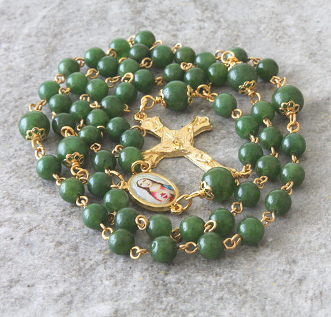 Greenstone Immaculate Heart of Mary Catholic Rosary - Nephrite Jade