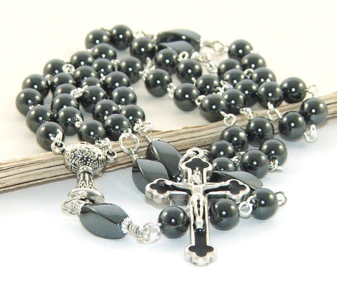 Hematite Rosary - Traditional Catholic Boy's Communion Black Rosary