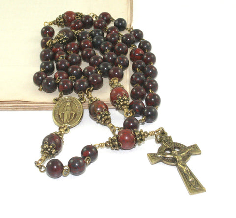 Man's Rosary, Jasper Gemstone Beads with Brass