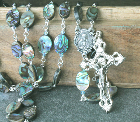 Abalone shell rosary, New Zealand paua handmade Catholic rosaries