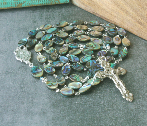 New Zealand paua shell rosary Sacred Heart center handmade in NZ