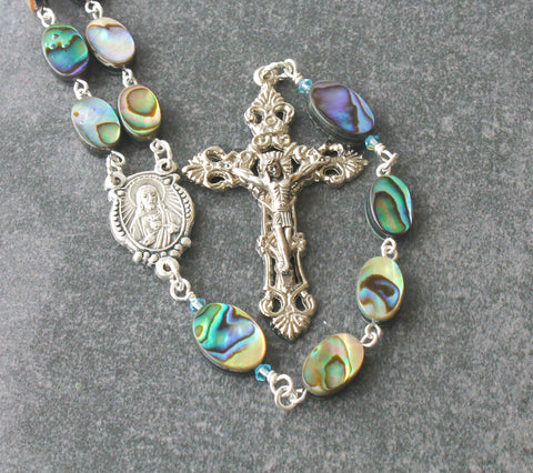 Sacred heart rosary, paua shell, silver crucifix, Sacred Heart center, handmade