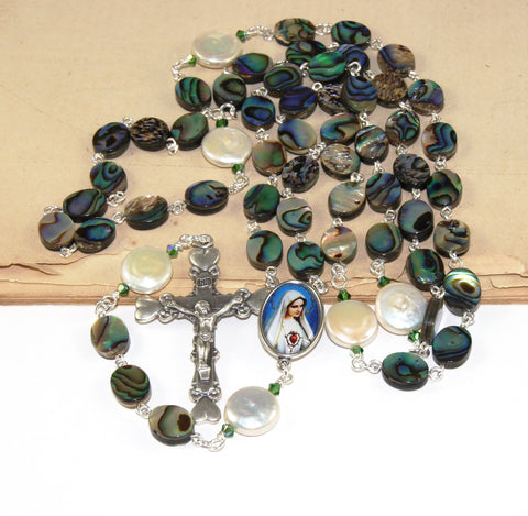 Paua Shell & Freshwater Pearls Immaculate Heart of Mary Rosary