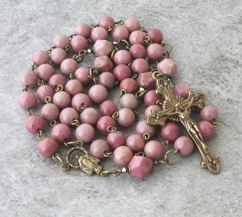 Pink gemstone beaded rosary, Catholic women's rosary prayer beads