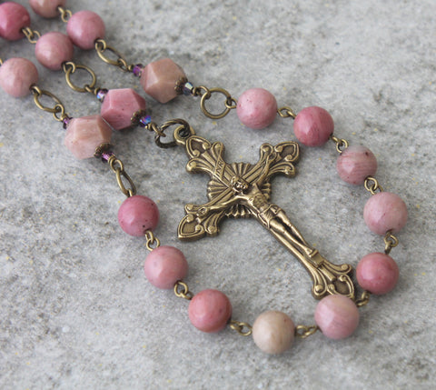 Woman's Rosary, Pink Rhodonite Gemstone Beads & Bronze Crucifix