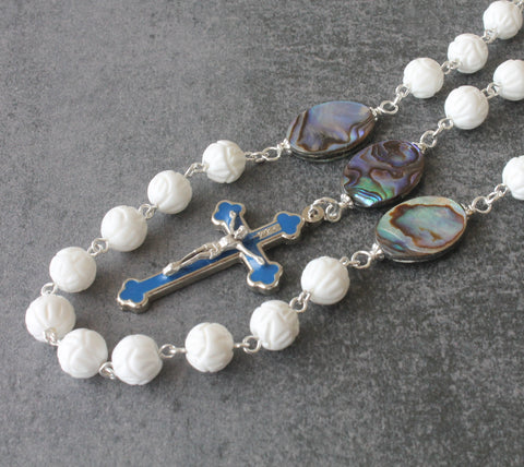 Our Lady of Fatima Rosary, White Shell & Paua Shell Beads