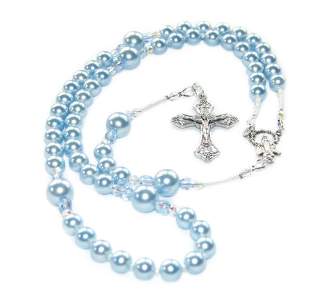 Blue pearl rosary for baby boy
