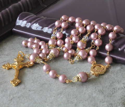 Catholic Rosary, Swarovski® Crystal Pearls with Gold