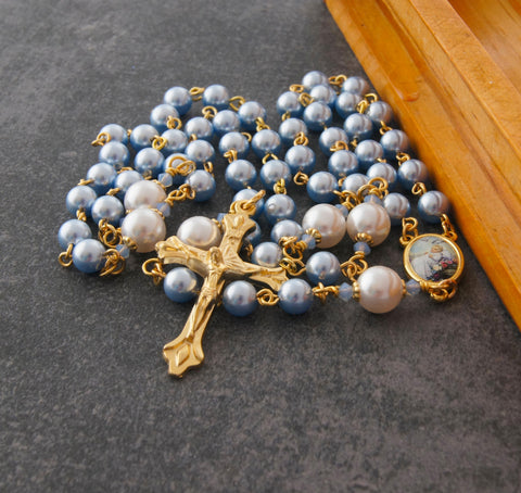 Blue and white baby's rosary