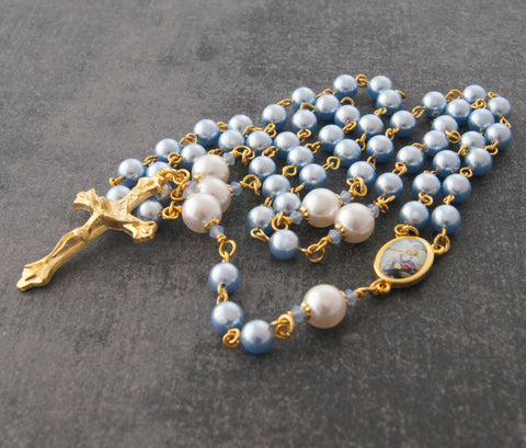 Baby boy's rosary for baptism, Swarovski pearls, blue gold, handmade NZ
